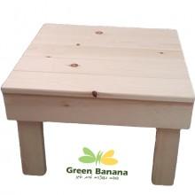 שולחן מעץ כתוספת לפינת פופים